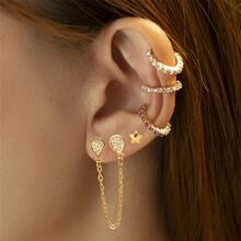 5pcs Rhinestone Decor Earring
