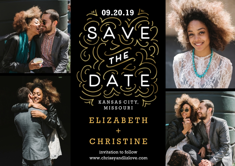Save the Date 5x7 Cards, Premium Cardstock 120lb, Card & Stationery -Swirls Save the Date