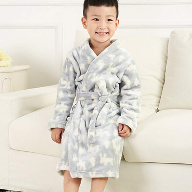 Super Soft Concise Design Gray Flannel Kids Robe