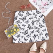 M-slit Hem Allover Butterfly Print Skirt