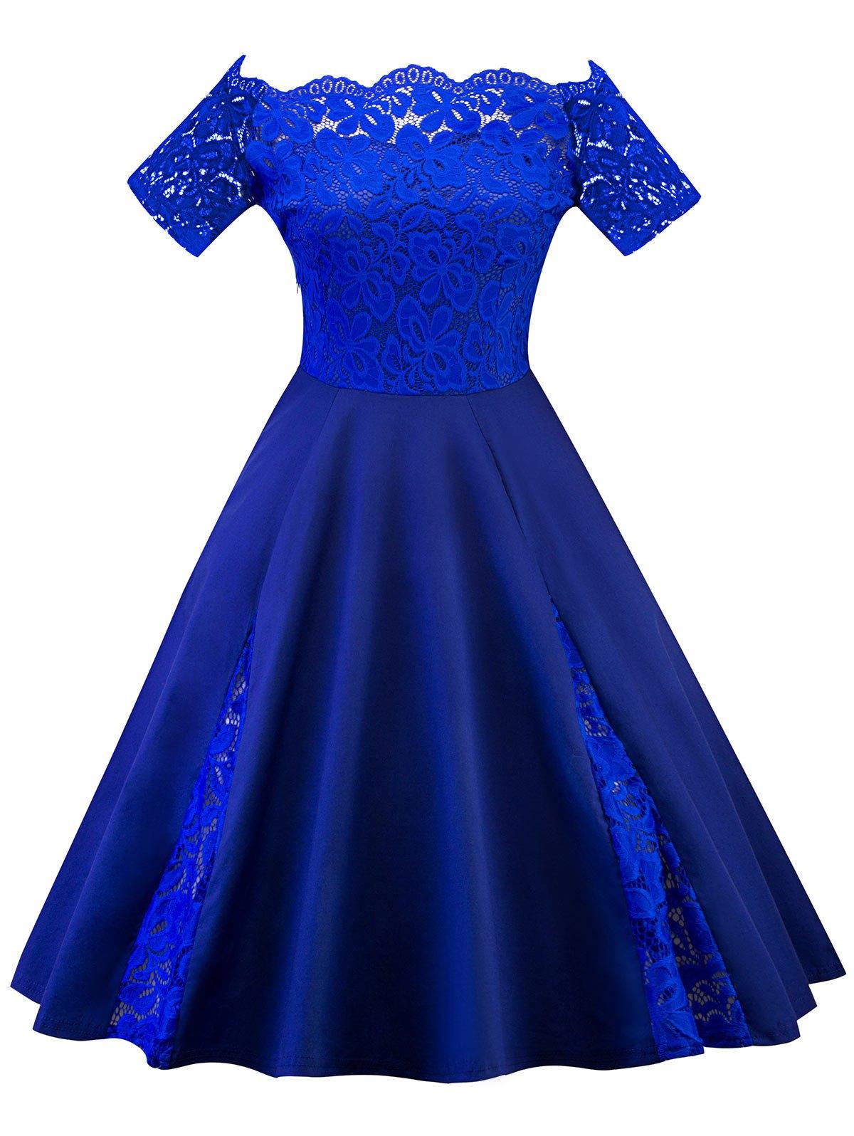 Lace Panel Off The Shoulder Plus Size Dress