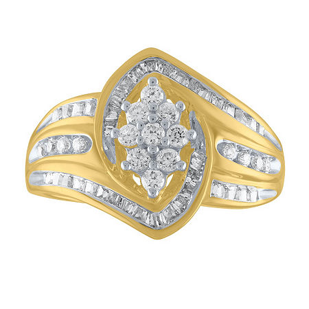 Womens 1/2 CT. T.W. Genuine White Diamond 10K Gold Cocktail Ring, 7 , No Color Family