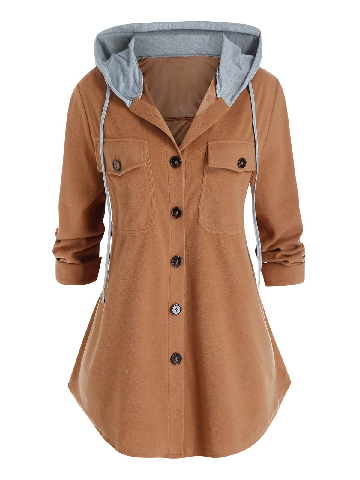 Plus Size Dual Pocket Hooded Button Front Curved Hem Coat