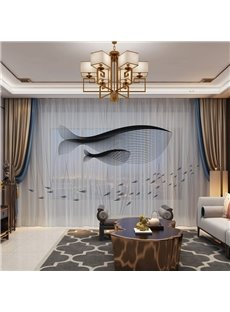 3D Abstract and Monochore Whale Printed Modern Style 2 Panels Custom Sheer