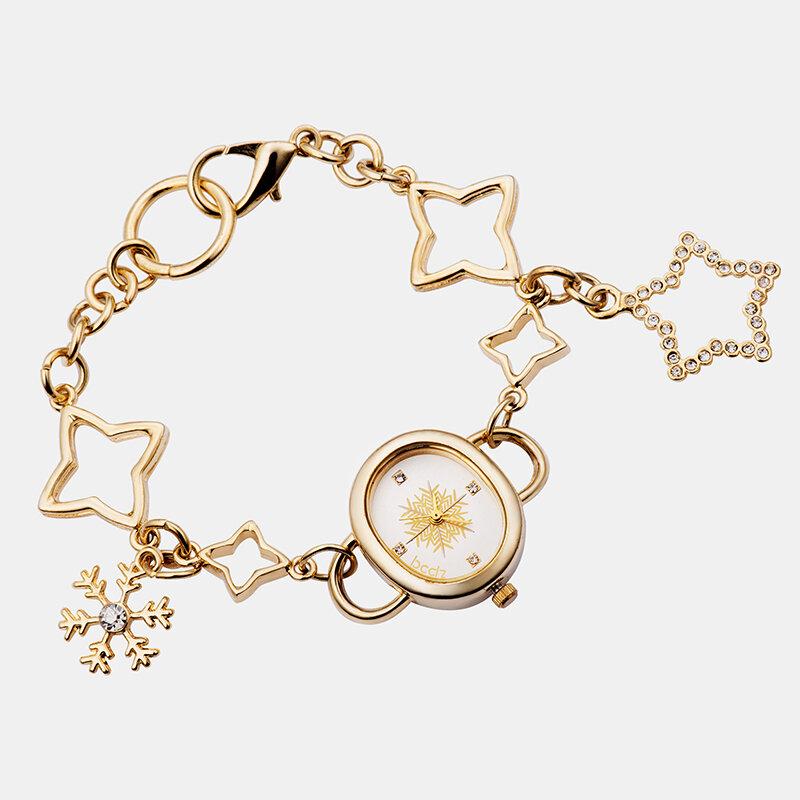 Fashion Creative Women Wristwatch Oval Dial Golden Silver Star Bracelets Quartz Watch