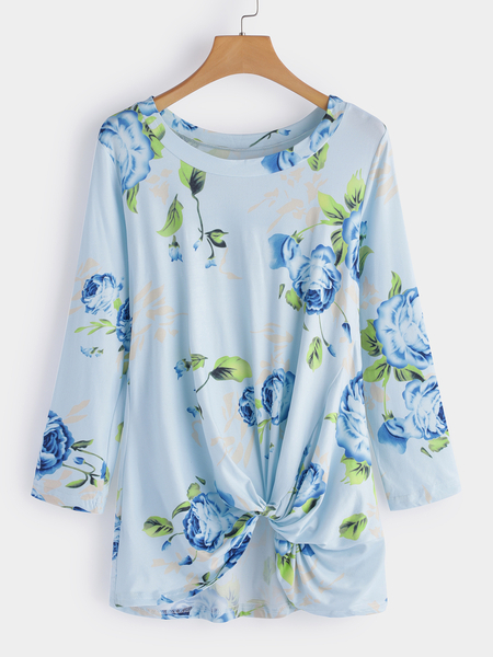 Yoins Blue Crossed Front Design Floral Print Round Neck Long Sleeves T-shirts