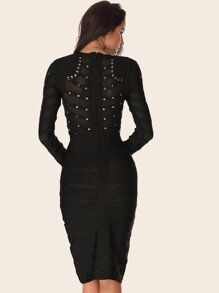 Adyce Studded Detail Sheer Bodycon Bandage Dress