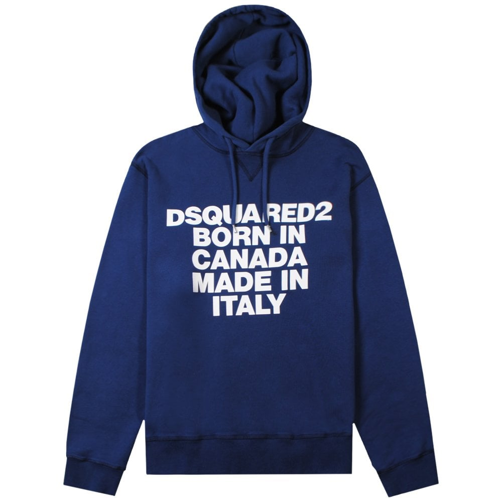 DSquared2 'Born & Made' Logo Hoodie Colour: BLUE, Size: EXTRA EXTRA LARGE