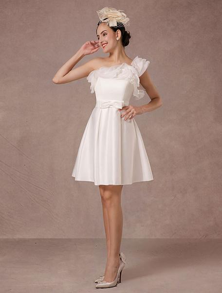 Milanoo Short Wedding Dress Organza A-line One-shoulder Ruffles Satin Mini Bridal Summer Wedding Dresses 2020