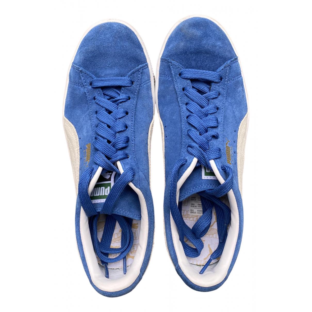 Puma \N Sneakers in  Blau Leder