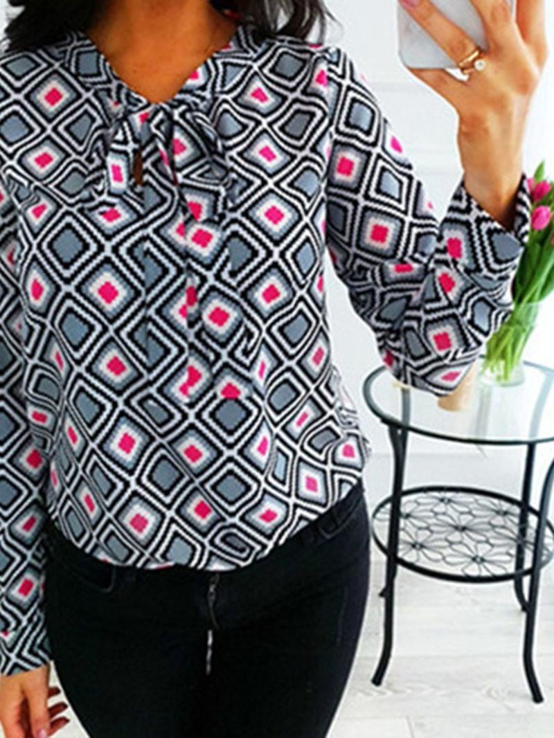 Ericdress Stand Collar Plant Print Long Sleeve Standard Blouse
