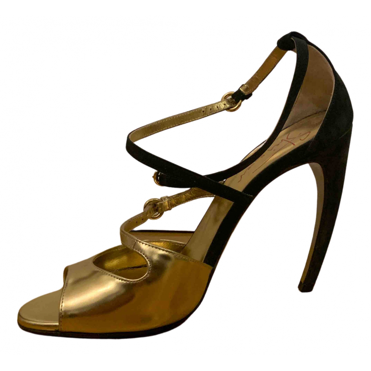 Walter Steiger N Gold Leather Sandals for Women 39 EU