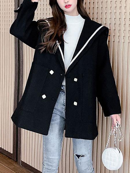 Milanoo Women\'s Coats Outerwear Color Block Turndown Collar Buttons Classic Black Winter Coat