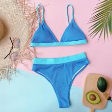 Gerippter einteiliger Bikini Badeanzug mit hoher Taille