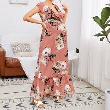 Kleid mit Raffungsaum, Band hinten, Ruesche und Blumen Muster