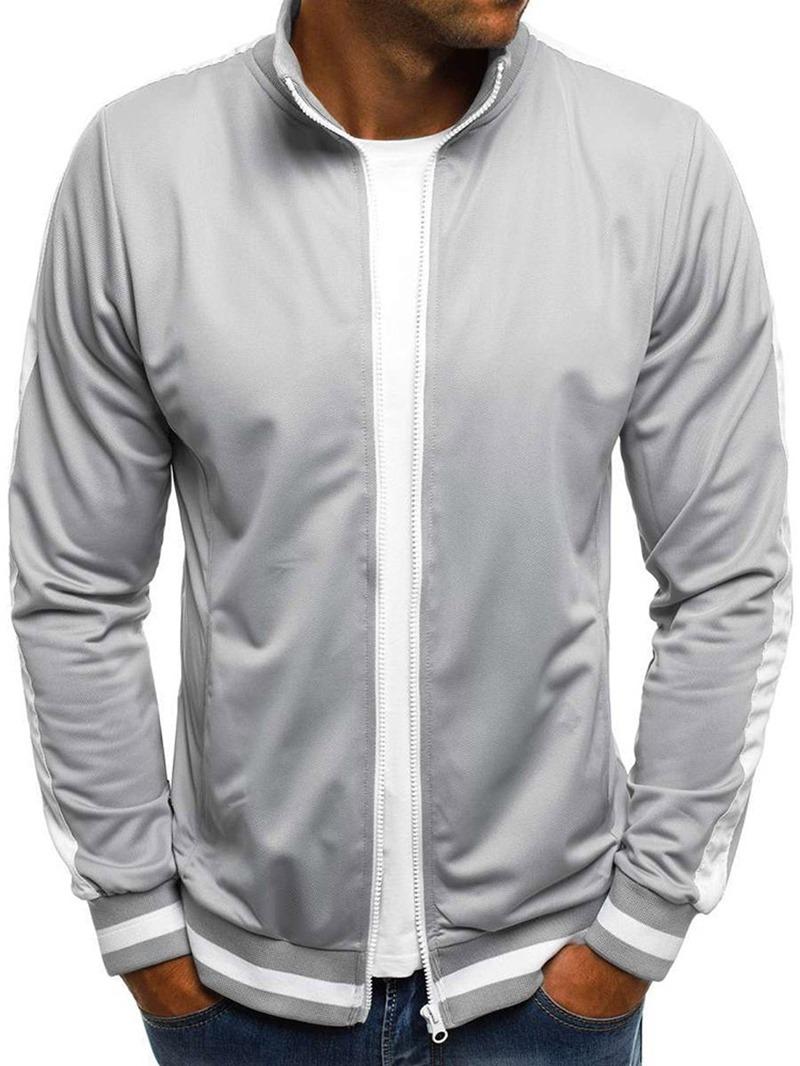 Ericdress Regular Cardigan Patchwork Men's Slim Stand Collar Hoodies