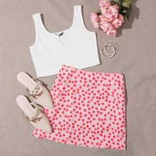 Notched Neck Crop Tank Top & Ditsy Floral Print Skirt Set