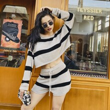 MeysiKim Drop Shoulder Striped Sweater & Drawstring Waist Shorts Set