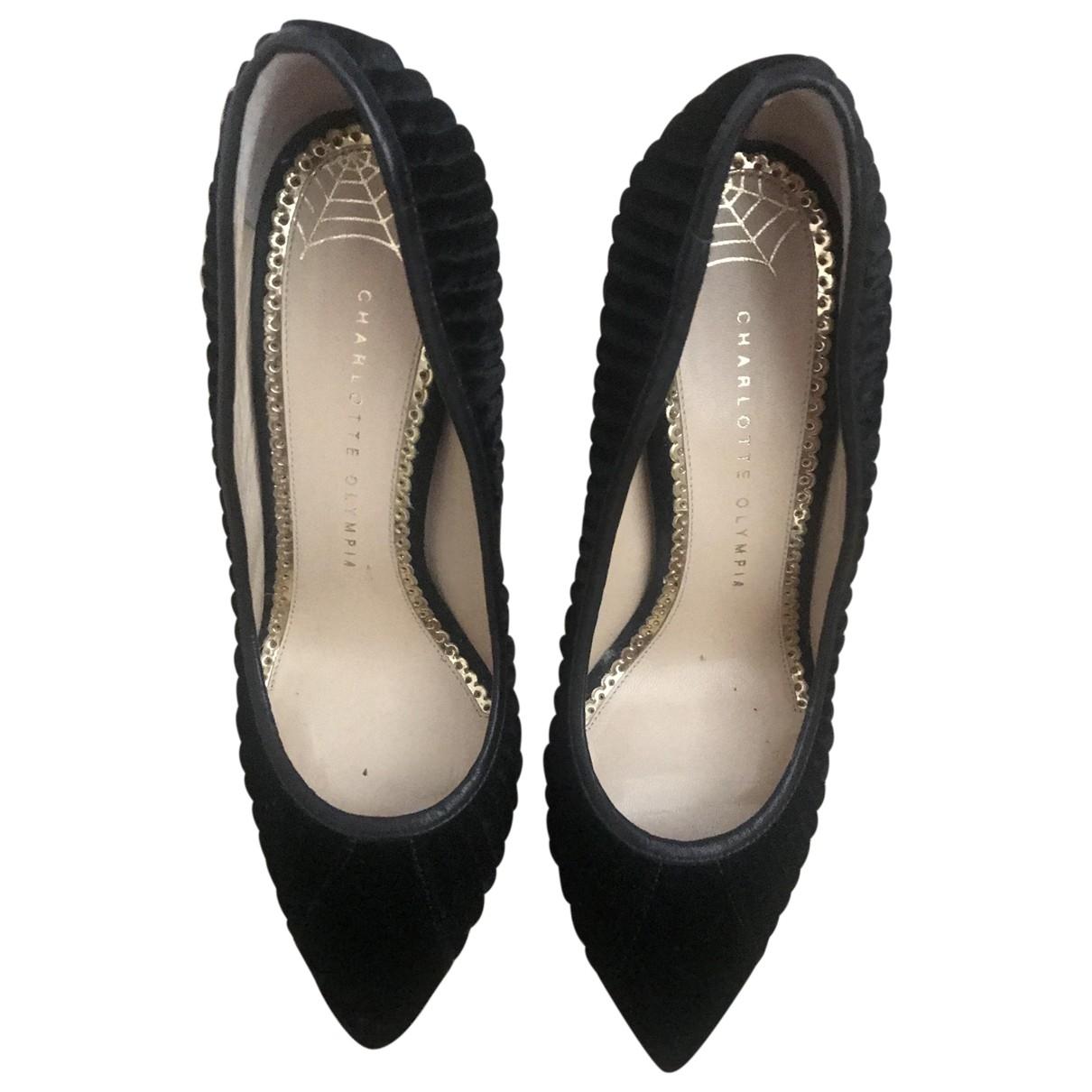 Charlotte Olympia - Escarpins   pour femme en velours - noir