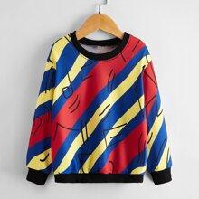 Sweatshirt mit Streifen und Grafik Muster