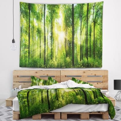 TAP7211-92-78 Forest With Rays Of Sun Panorama - Landscape Wall Tapestry -