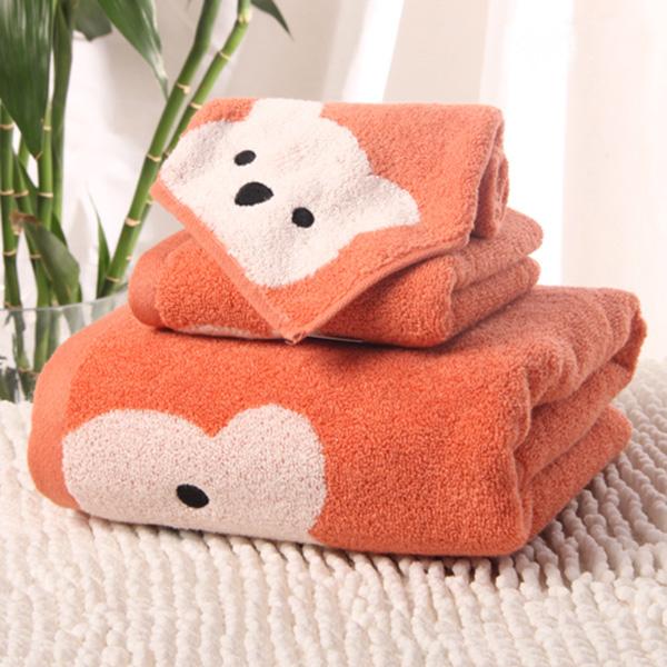 Cartoon Bear Soft 100% Cotton Bath Tower Set