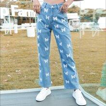 Jeans mit Schmetterling Muster und hoher Taille