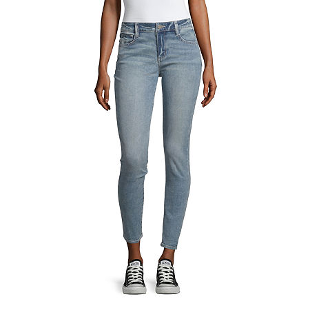 Arizona Mid Rise Skinny Fit Jean - Juniors, 3 Long , Blue