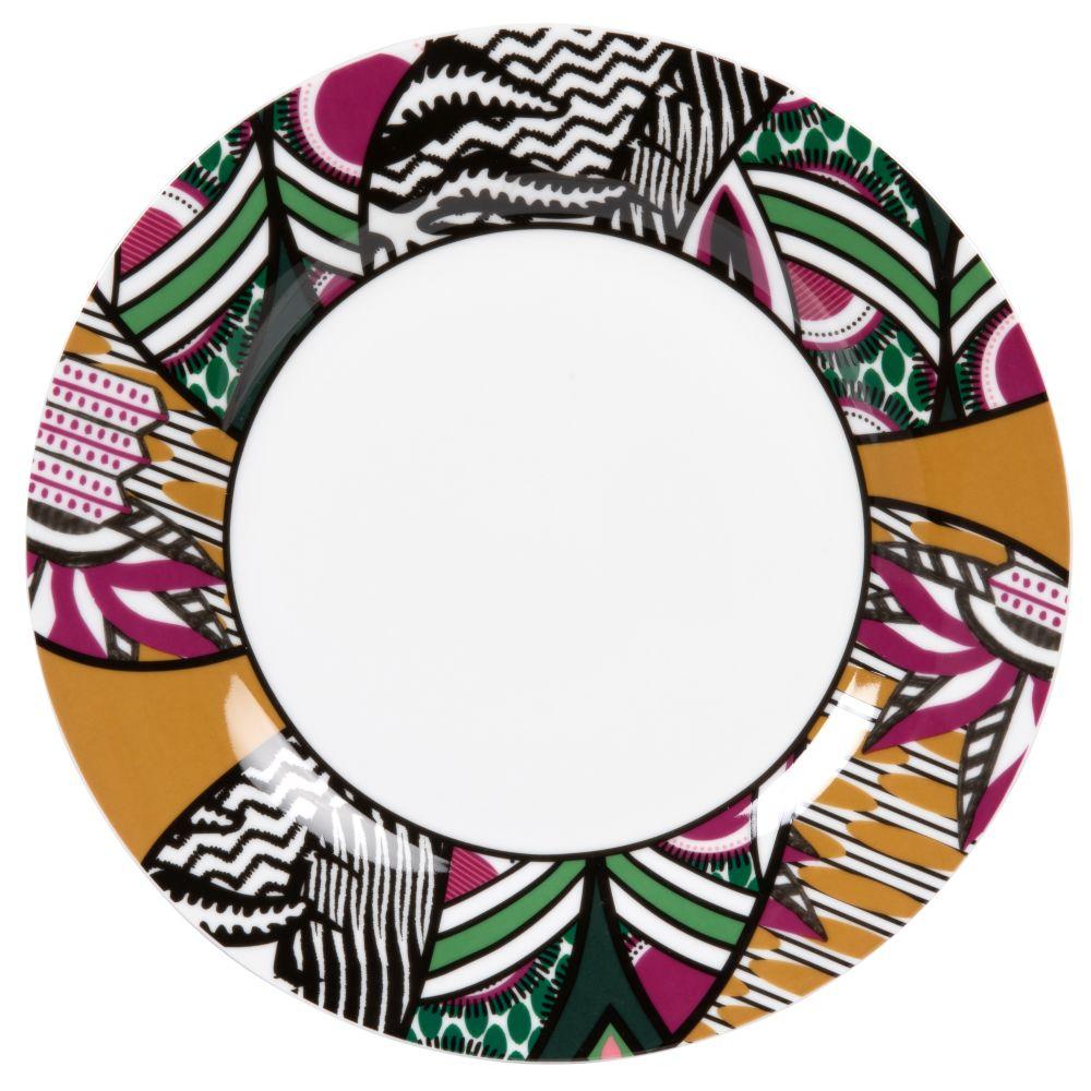 Flacher Teller aus weissem Porzellan, bunt bedruckt