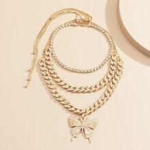 3 piezas collar colgante de mariposa con diamante de imitacion