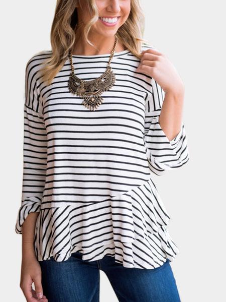 Yoins Black Stripe Round Neck Flared Sleeves T-shirt