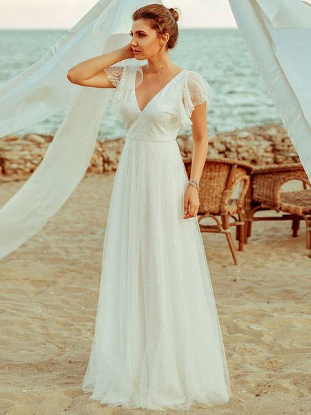 Milanoo Simple Wedding Dress 2020 A Lne V Neck Short Sleeve Floor Length Tulle Beach Wedding Party Dresses Bridal Gowns