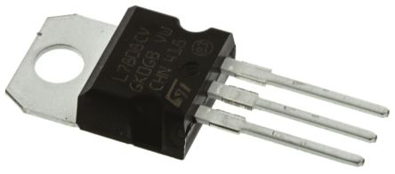 STMicroelectronics , 8 V Linear Voltage Regulator, 1.5A, 1-Channel 3-Pin, TO-220 L7808CV (50)