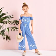 Girls Shirred Detail Floral Print Frill Bardot Palazzo Jumpsuit