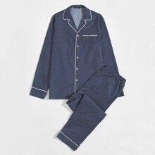 Men Polka Dot Button Front Shirt & Pants PJ Set