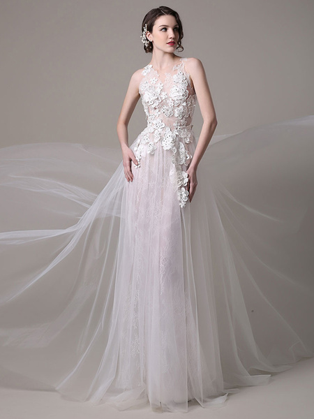 Milanoo Sexy Wedding Dress In Lace And Tulle With Sheer Illusion Tulle Bodice 3D Floral Applique
