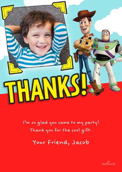 Kids Thank You Cards Flat Matte Photo Paper Cards with Envelopes, 5x7, Card & Stationery -Toy Story Thanks