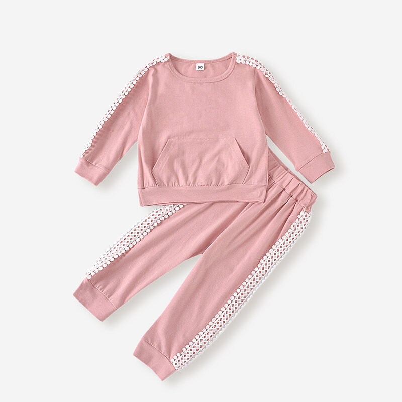 Girl''s Lace Patchwork Long Sleeves Casual Clothing Set For 2-8Y