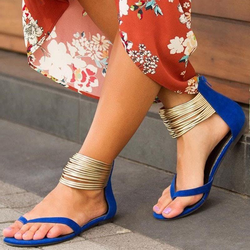 Ericdress Block Heel Heel Covering Zipper Women's Flat Sandals