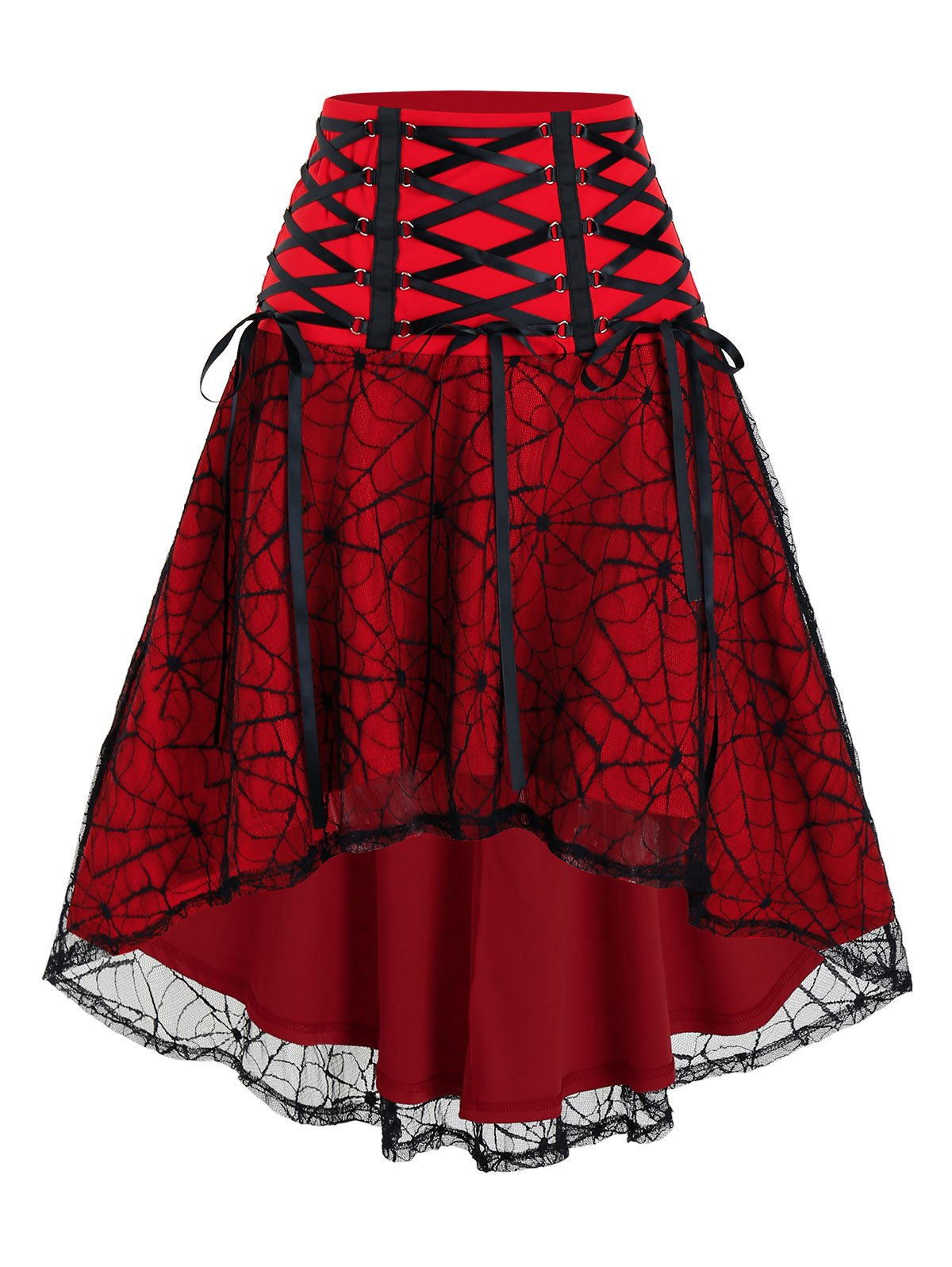 Halloween Spider Web Lace High Low Skirt