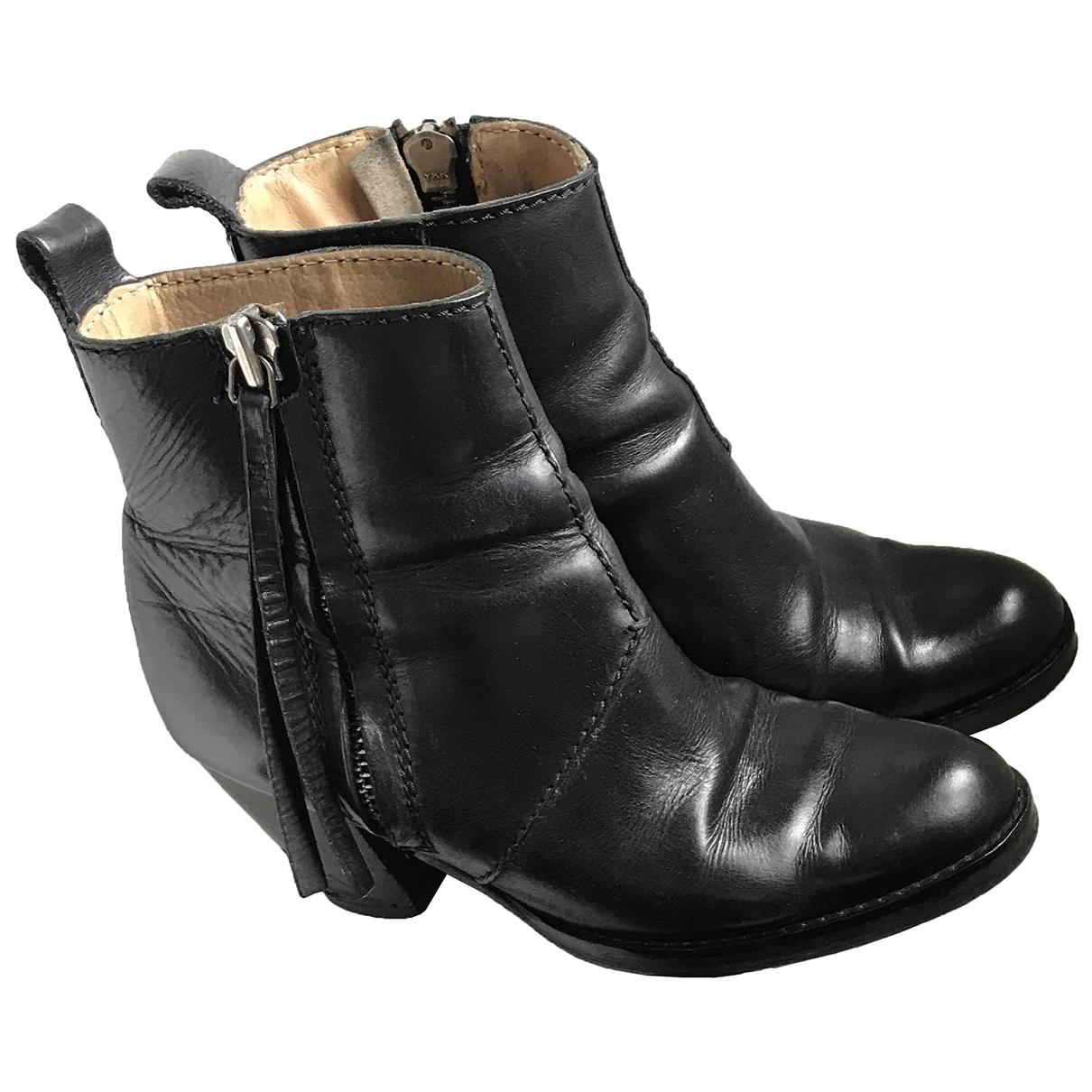 Acne Studios - Boots Pistol pour femme en cuir - noir