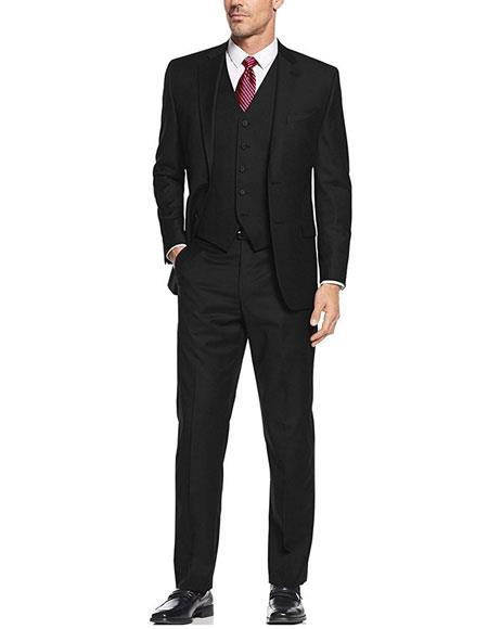 Mens Black 3Piece Single Breasted Slim Fit 2Button Vested Suit Set
