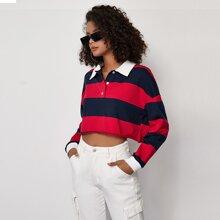 Pullover mit halber Knopfleiste und Streifen