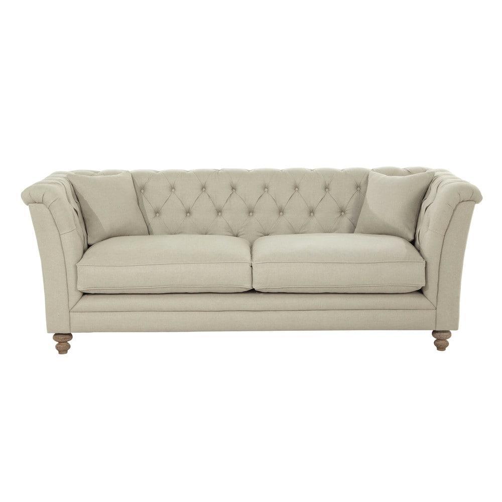 Sofa 3-Sitzer aus Leinen Lawrens