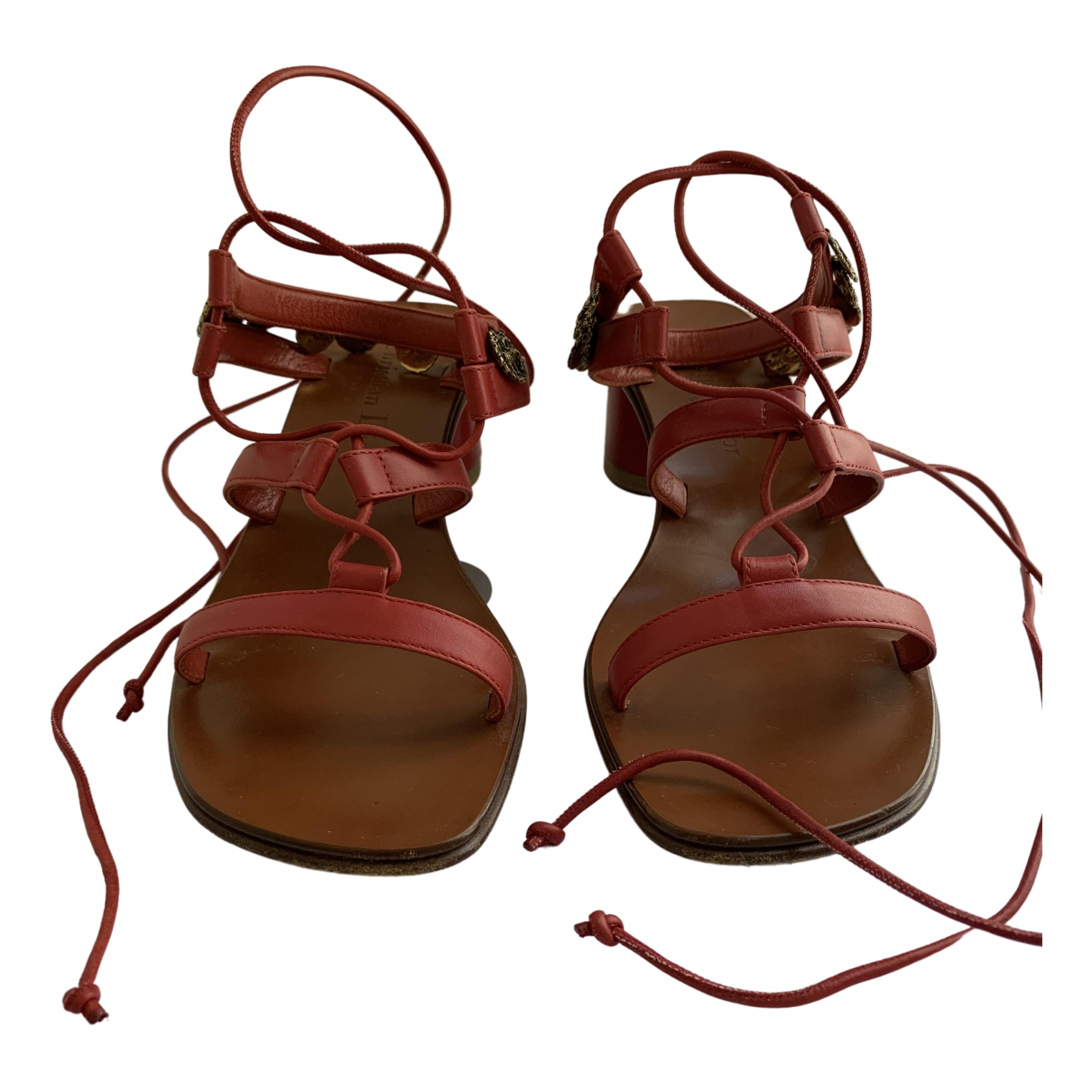 Dior \N Red Leather Sandals for Women 35.5 EU