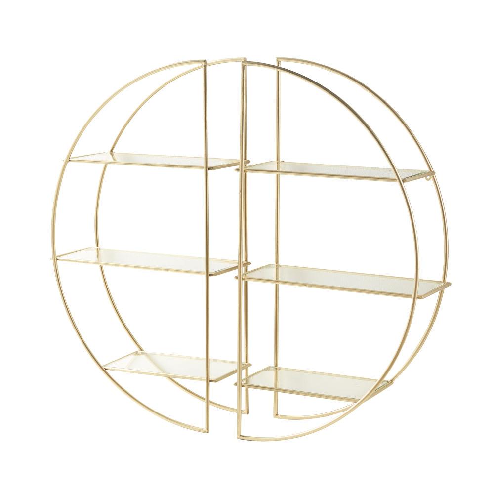 Regal mit goldfarbenem Metallgestell und Glasboden
