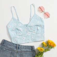 Daisy Floral Button Front Cami Top