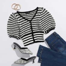 Button Front Striped Crop Cardigan