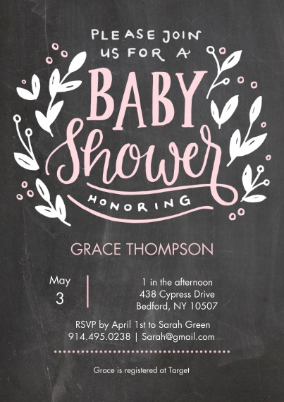 Baby Shower Invitations 5x7 Cards, Standard Cardstock 85lb, Card & Stationery -Baby Shower Chalkboard Floral