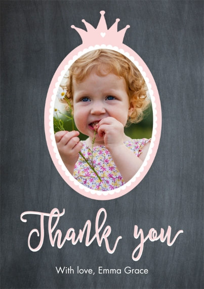 Kids Thank You Cards 5x7 Cards, Premium Cardstock 120lb with Elegant Corners, Card & Stationery -Thank You Set Set Princess Oval